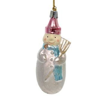 Holiday Ornaments SNOWMAN CHRISTMAS Polyresin Glittered Silver Broom 33333S C