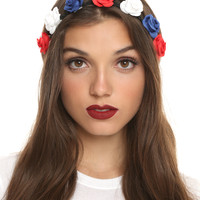LOVEsick Red White & Blue Flower Stretchy Headband