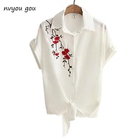 Top Summer Women Casual Tops Short Sleeve Embroidery White Top Blouses Shirts