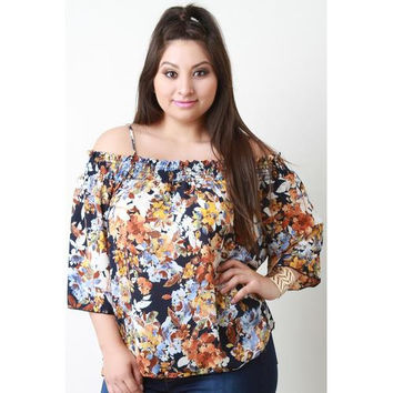 Cold Shoulder Smocked Floral Print Top