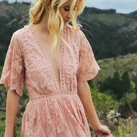 Gemma Blush Lace Maxi Dress
