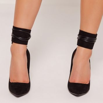 Missguided - Lace Up Ankle Cuff Court Shoes Black