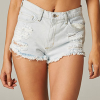 Bleached Destroyed Denim Shorts