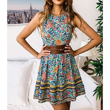 Classic Fashion Women Retro Floral Print Sleeveless Round Collar Zipper Dress Light Blue