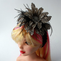 Zebra Print Headband, Avant Garde, Ostrich Feather, Black and White, One size fits all
