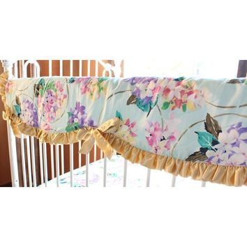 Crib Rail Cover | Cordelia Aqua Baby Bedding