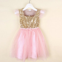 Pink and Gold Sequin Tutu Princess Birthday Party Dress