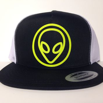 Alien Face Hat Black & White Snapback