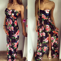 SIMPLE - Women Fashionable Strapless Split Floral Design One Piece Dress a10106