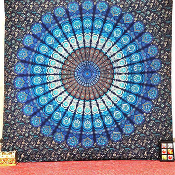Large Hippie Hippy Wall Hanging , Indian Mandala Tapestry Fabric Throw Bedspread Queen Bed Decor Sheet Ethnic Decorative Art dorm tapestries