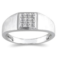 10kt White Gold and Diamond Men's Ring