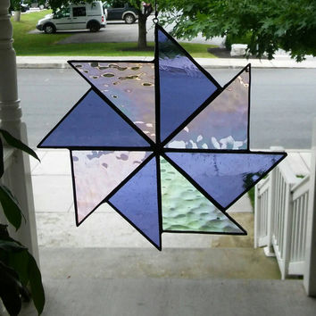 Stained Glass pinwheel suncatcher in purple & iridescent clear, glass art, suncatcher, stained glass window, quilt square, hip chick glass