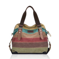 Women Casual Stripe Canvas Handbag Micro-Fibric Leather Shoulder Bags Contrast Color Crossbody Bag