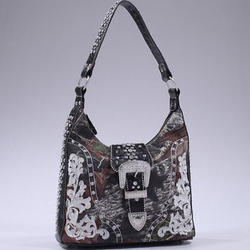 Mossy Oak Camo Studded Hobo Bag With Rhinestone Buckle Accent - 40019