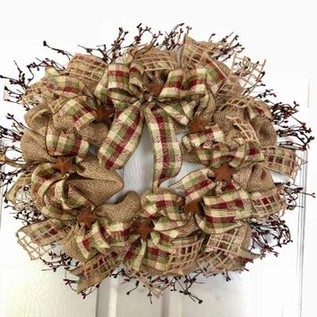 Primitive Burlap Pip Berry Wreath | Primitive Decor | Pip Berry Wreath | Primitive Burlap | Home Decor | Country Farmhouse Decor