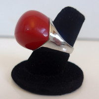 Vintage 925 Sterling Silver Cocktail Ring - Red Cabechon Large Mod Gaudy Ring - Vintage Silver and Red Ring Size