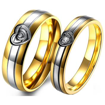 New Heart Wedding Rings for Women and Men gold old Jewelry for Couple Stainless Steel Ring Promise Rings Pair Sets For Couples