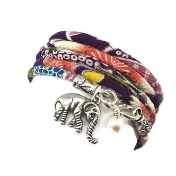 Lucky Elephant Charm Wrap Bracelet by charmeddesign1012