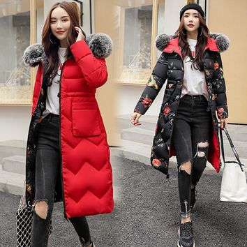 Both Two Sides Can Be Wore 2019 Women Winter Jacket  Arrival With Fur Hooded Long Coat Cotton Padded Warm Parka Womens Parkas-85