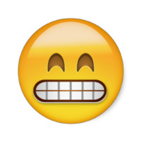 Grinning Face With Smiling Eyes Emoji Round Stickers