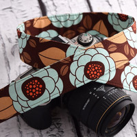 Aviary Bloom in Brown and Teal - Floral Camera Strap - dslr camera strap for Canon, Nikon
