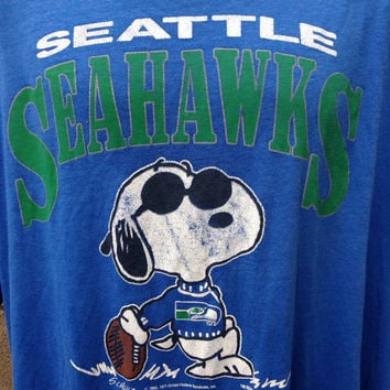 Snoopy Seahawks Tee Shirt Vintage Seattle authentic 1980s Peanuts XXL XXXL