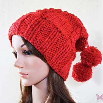 Slouchy beanie hat with cable pattern and pom poms - DEEP RED - knit - womens teen girls - accessories - Wool Woolen
