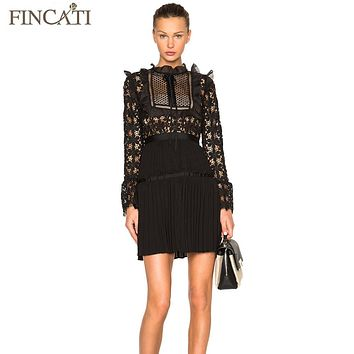 Women Dress 2017 Runway Spring Summer Lace Patchwork Vintage Design Flare Sleeve Slim Fitted Sexy Mini Dress Vestidos de Festa
