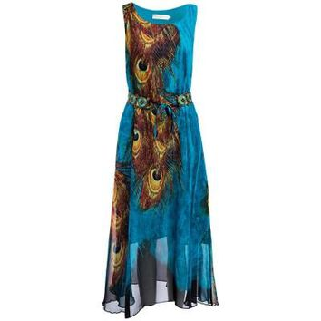 Peacock Printed Sleeveless Sheer Flare Maxi Dress