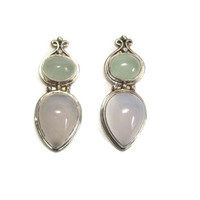Large Vintage Sajen Sterling Chalcedony Earrings