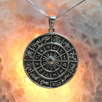 Zodiac Wheel Pendant, Sterling Silver, .925 - Item P2113