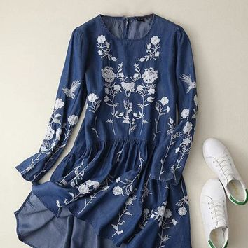 Embroidered Casual Denim Dresses