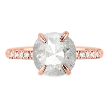 3.06 Carat White & Grey Rounded Cushion Rose Cut Diamond Engagement Ring, Jules Setting, Recycled 14k Rose Gold