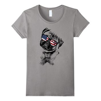 Pug Dogs 4th of July Patriotic T-Shirt