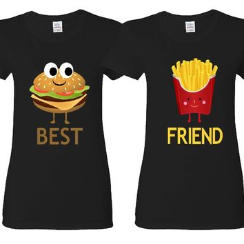 Hamburger and French Fries Girl BFFS T-shirts