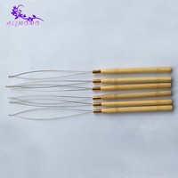 Cheap Fashion Hair Extension Hook Pulling Tool 1Pcs Needle Threader Micro Rings Beads Loop Wooden Handle Pulling With Iron Wire