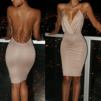 Bodycon Deep V Backless Dress