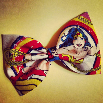 Marvel wonder woman super hero retro rockabilly fabric hair bow dc comic book