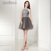 Luxury Grey Short Prom Dresses 2018 Beading Tulle Vestido De Festa Curto A Line Mini Formal Cocktail Party Dress