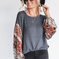 Hazy Days Charcoal & Camel Gypsy Sleeve Top