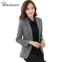 2017 Autumn/Winter Jacket & Blazers Women Plus Size Gray Simple Women Blazer Tops Korean OL Style Coat One Button  Blazer Female