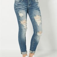 Ripped Rolled Cuff Skinny Jean