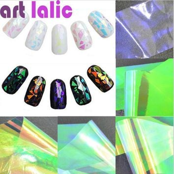 LMFET7 5 Sheets 3D Holographic Broken Glass Foils Finger Nail Art Mirror Stickers Glitter Stencil Decal DIY Manicure Design Tools