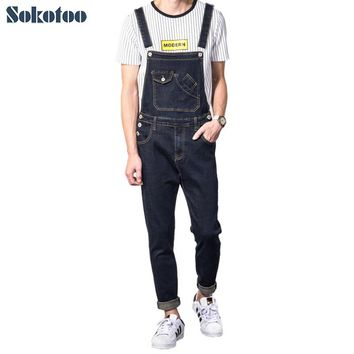 Sokotoo Men's casual slim pocket denim bib overalls Male suspenders jumpsuits Plus size jeans