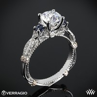 14k White Gold Verragio Twisted Sapphire 3 Stone Engagement Ring