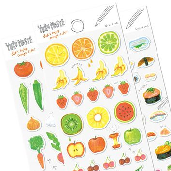 1pc Japanese Style Food&Animal Diary Sticker Scrapbook Decoration PVC Stationery Stickers