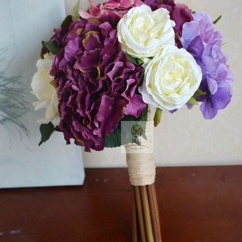 Elegant Hydrangea Silk Rose Bridal Bridesmaid Wedding Bouquet
