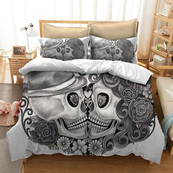 Cool Fanaijia skull Bedding Set for King Size Bed Europe Style 3D sugar skull duvet cover with pillowcase AU Queen Bed bedlineAT_93_12