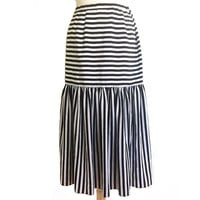 1980's Black + White Striped Midi Skirt ~ Carnival ~ 80s Vintage