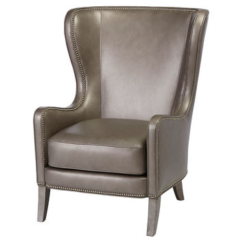 Dempsey Leather Wingback Chair, Gray, Wingbacks